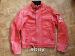Belstaff ladies pink 100% thick leather motorcycle jacket size 44 women's