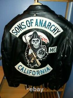 Véritable Perfecto Cuir Schott Patchs Sons Of ANARCHY JAX TELLER taille us 48